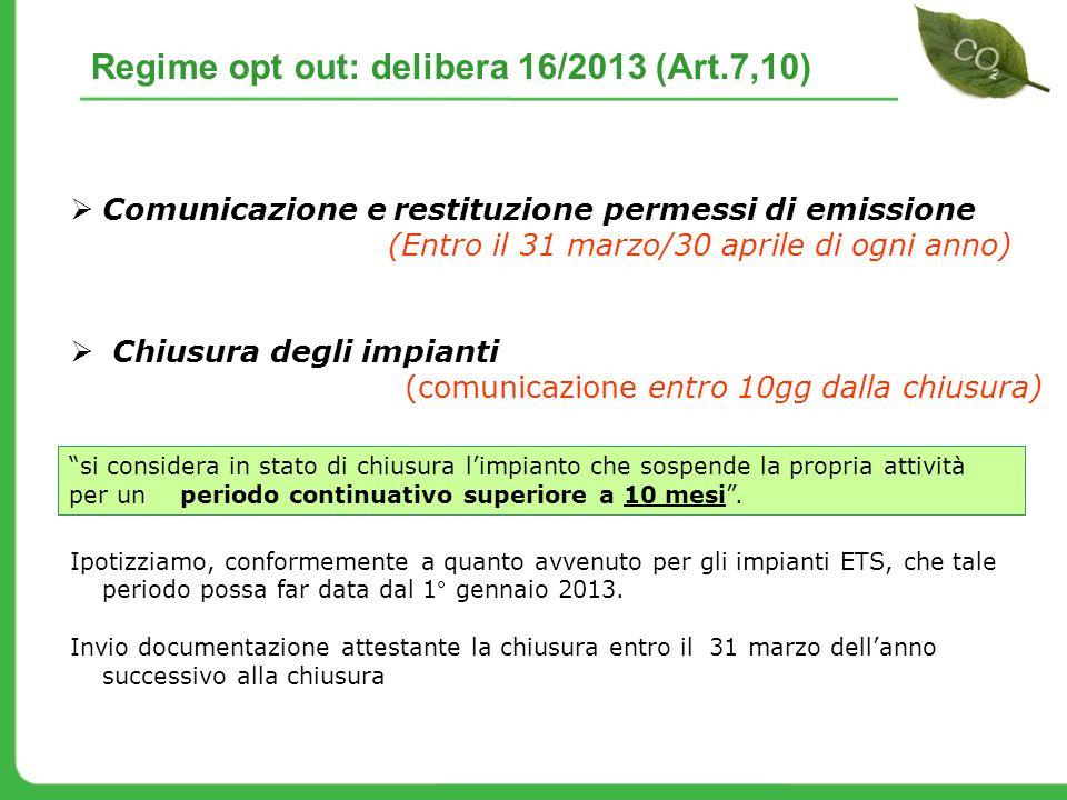 Regime opt out: delibera 16/2013 (Art.7,10)