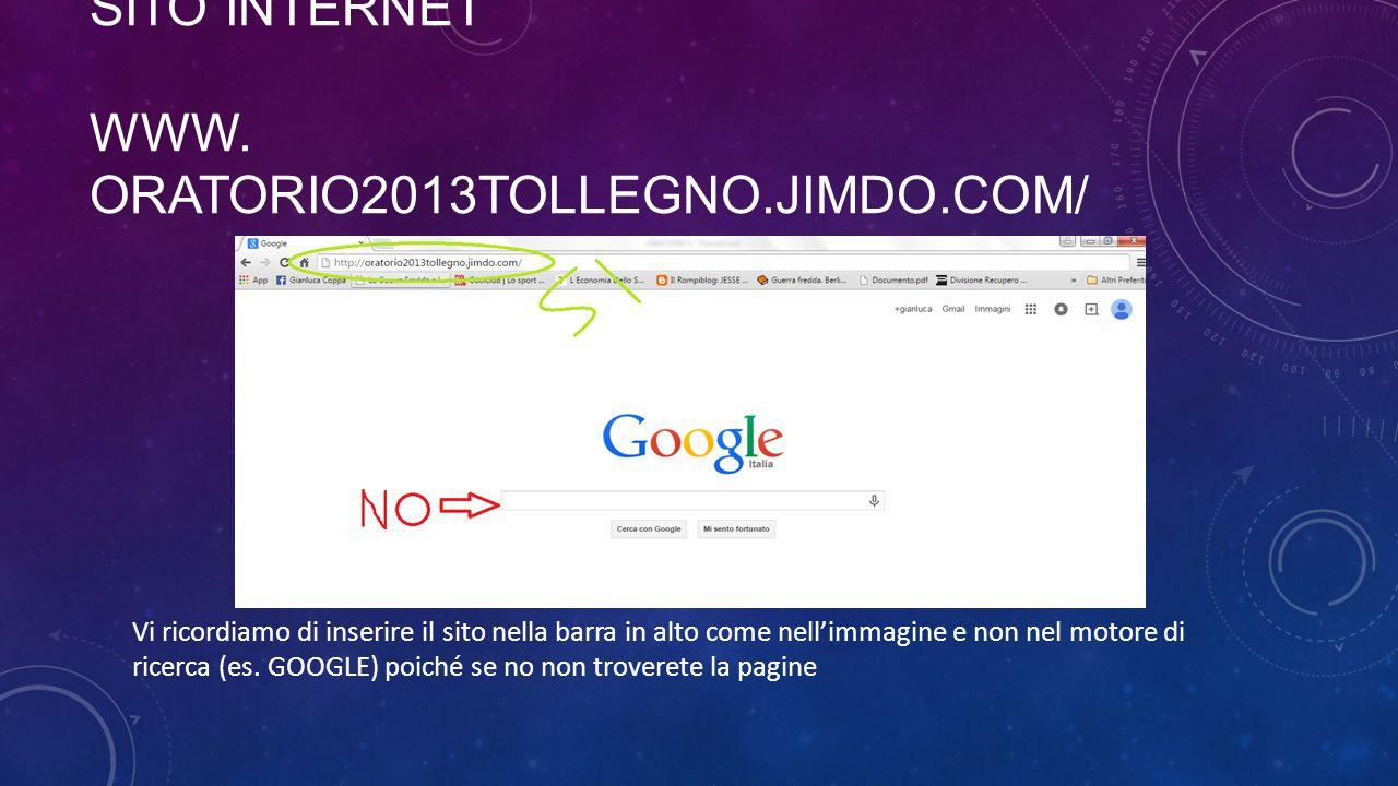SITO INTERNET WWW. oratorio2013tollegno.jimdo.com/