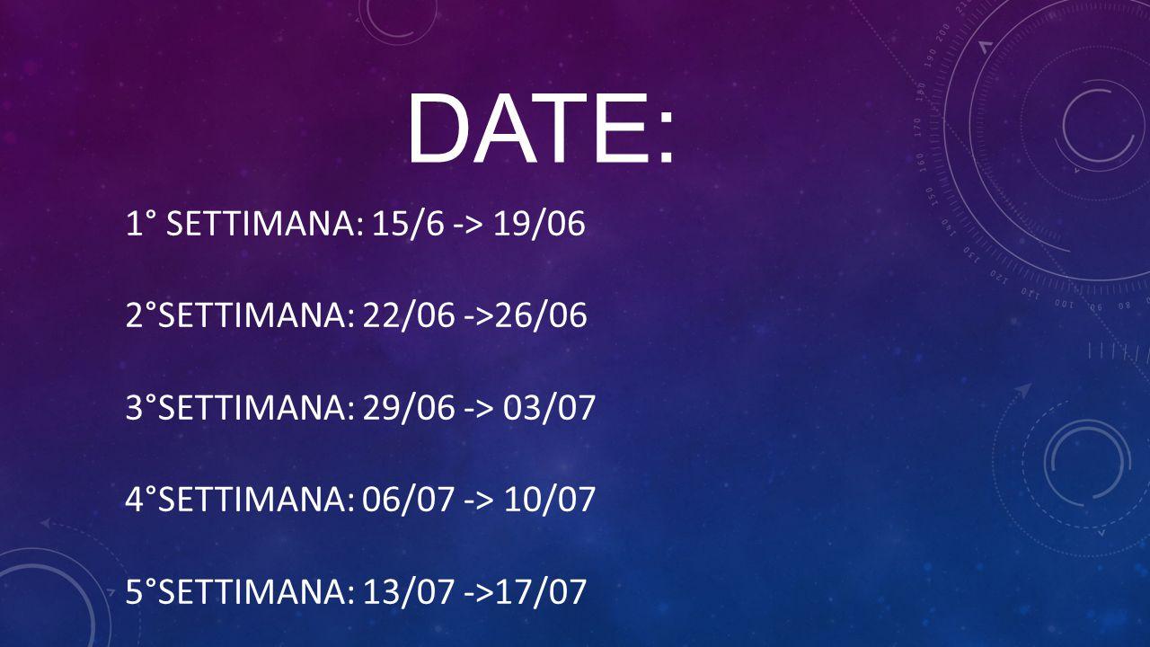DATE: 1° SETTIMANA: 15/6 -> 19/06 2°SETTIMANA: 22/06 ->26/06
