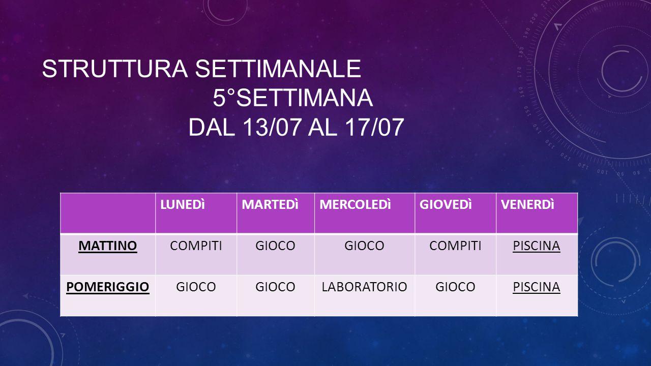 STRUTTURA SETTIMANALE 5°SETTIMANA DAL 13/07 AL 17/07