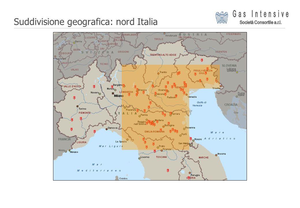 Suddivisione geografica: nord Italia