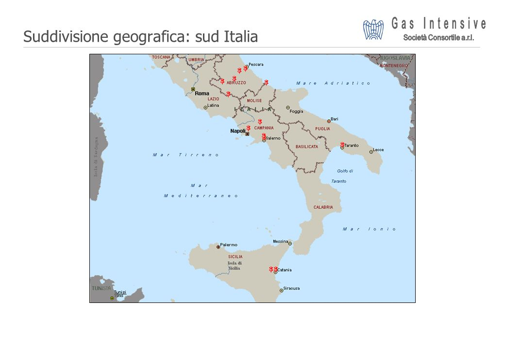 Suddivisione geografica: sud Italia