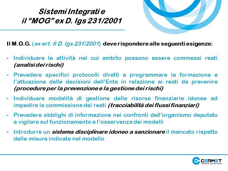 Sistemi Integrati e il MOG ex D. lgs 231/2001