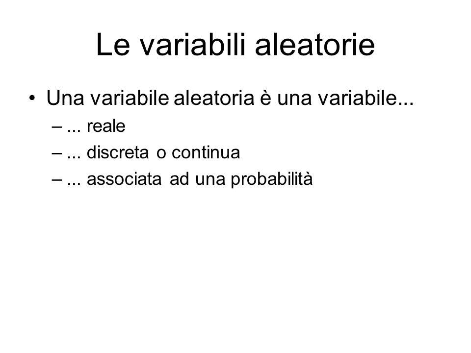 Le variabili aleatorie