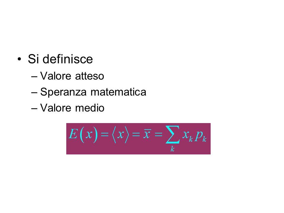 Si definisce Valore atteso Speranza matematica Valore medio