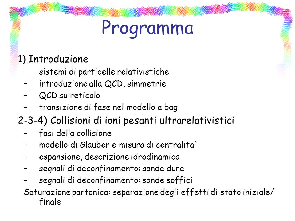 Programma 1) Introduzione