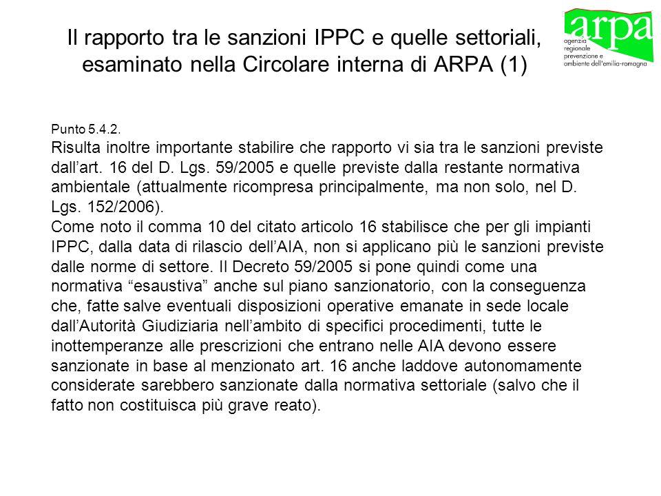 Il rapporto tra le sanzioni IPPC e quelle settoriali, esaminato nella Circolare interna di ARPA (1)