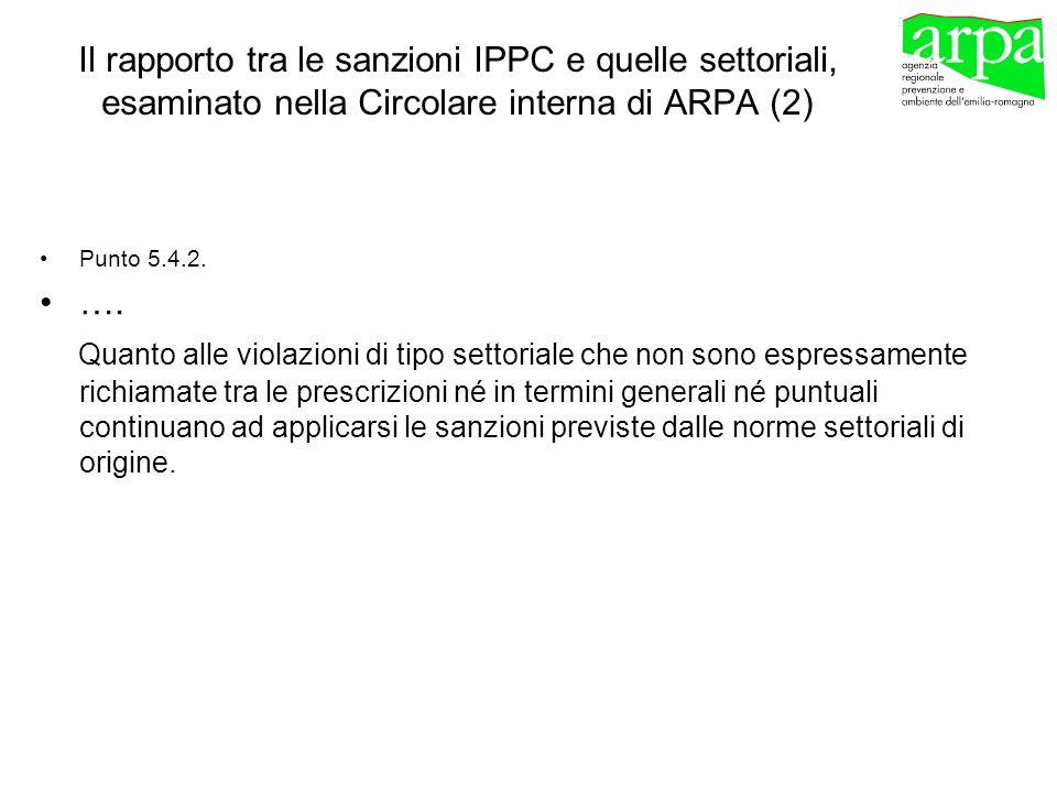 Il rapporto tra le sanzioni IPPC e quelle settoriali, esaminato nella Circolare interna di ARPA (2)