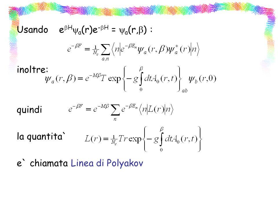 Usando ebHya(r)e-bH = ya(r,b) : inoltre: quindi la quantita` e` chiamata Linea di Polyakov