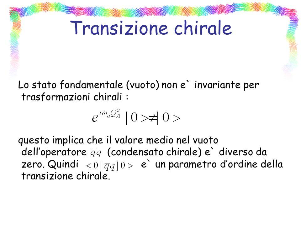 Transizione chirale Lo stato fondamentale (vuoto) non e` invariante per trasformazioni chirali :