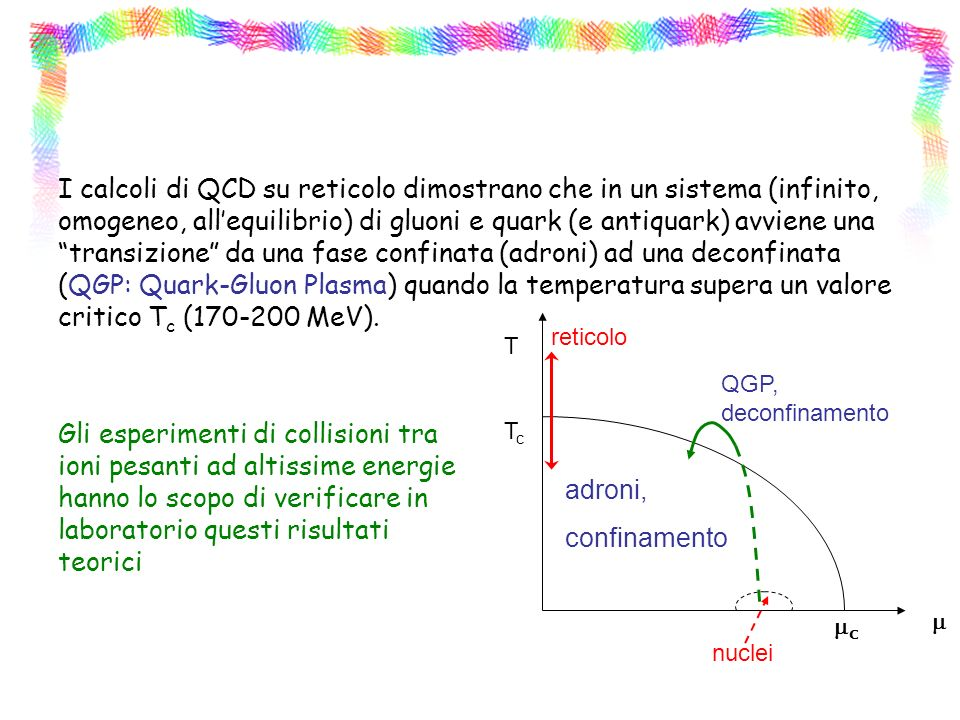 I calcoli di QCD su reticolo dimostrano che in un sistema (infinito, omogeneo, all'equilibrio) di gluoni e quark (e antiquark) avviene una transizione da una fase confinata (adroni) ad una deconfinata (QGP: Quark-Gluon Plasma) quando la temperatura supera un valore critico Tc (170-200 MeV).
