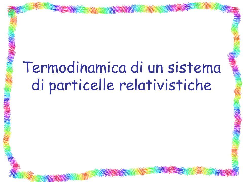 Termodinamica di un sistema di particelle relativistiche
