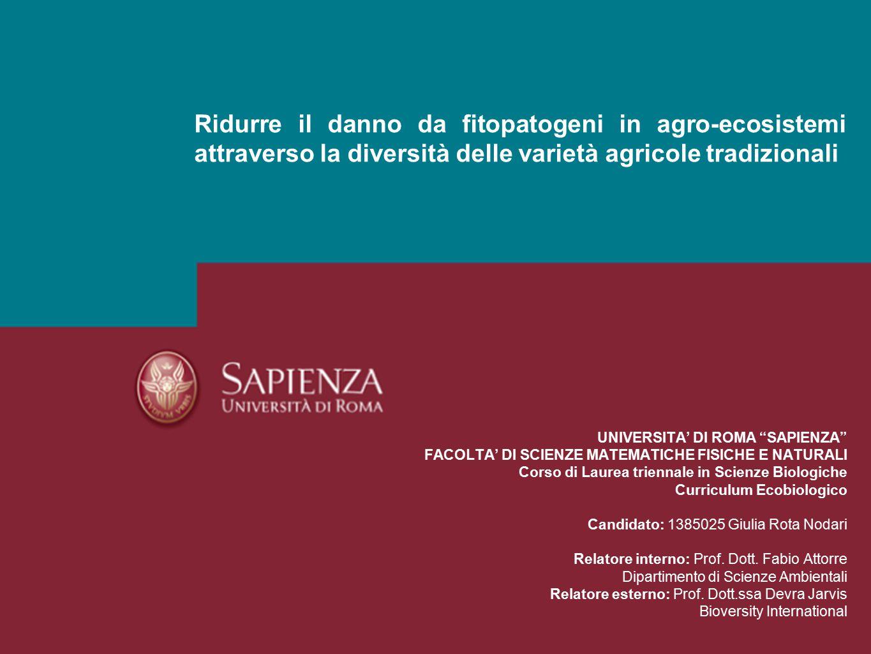 Ridurre il danno da fitopatogeni in agro-ecosistemi attraverso la diversità delle varietà agricole tradizionali