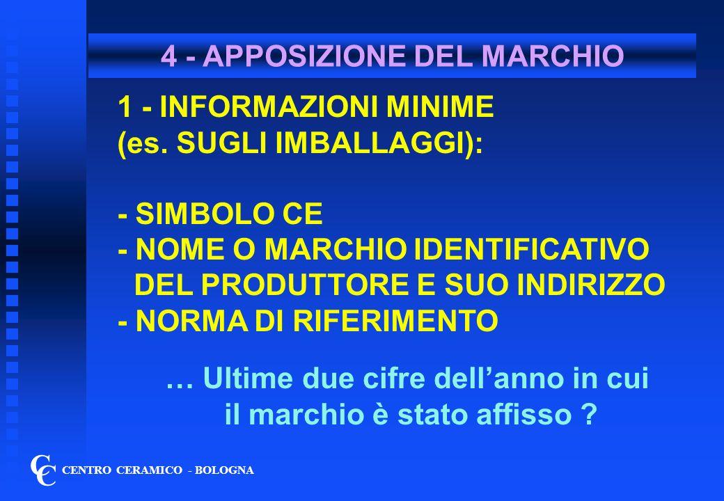 4 - APPOSIZIONE DEL MARCHIO