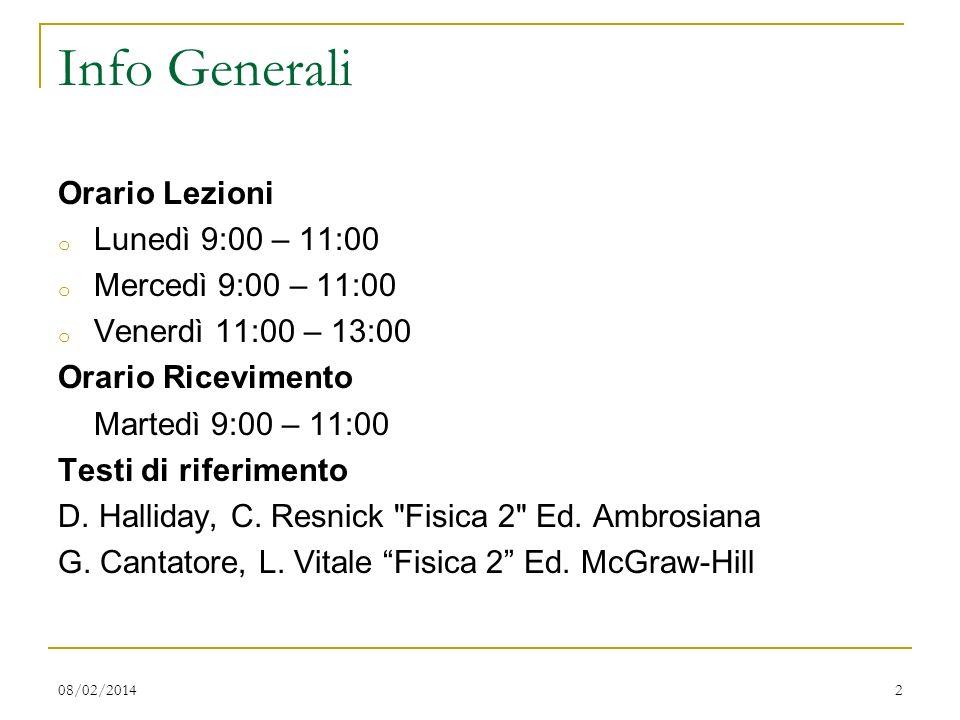Info Generali Orario Lezioni Lunedì 9:00 – 11:00 Mercedì 9:00 – 11:00