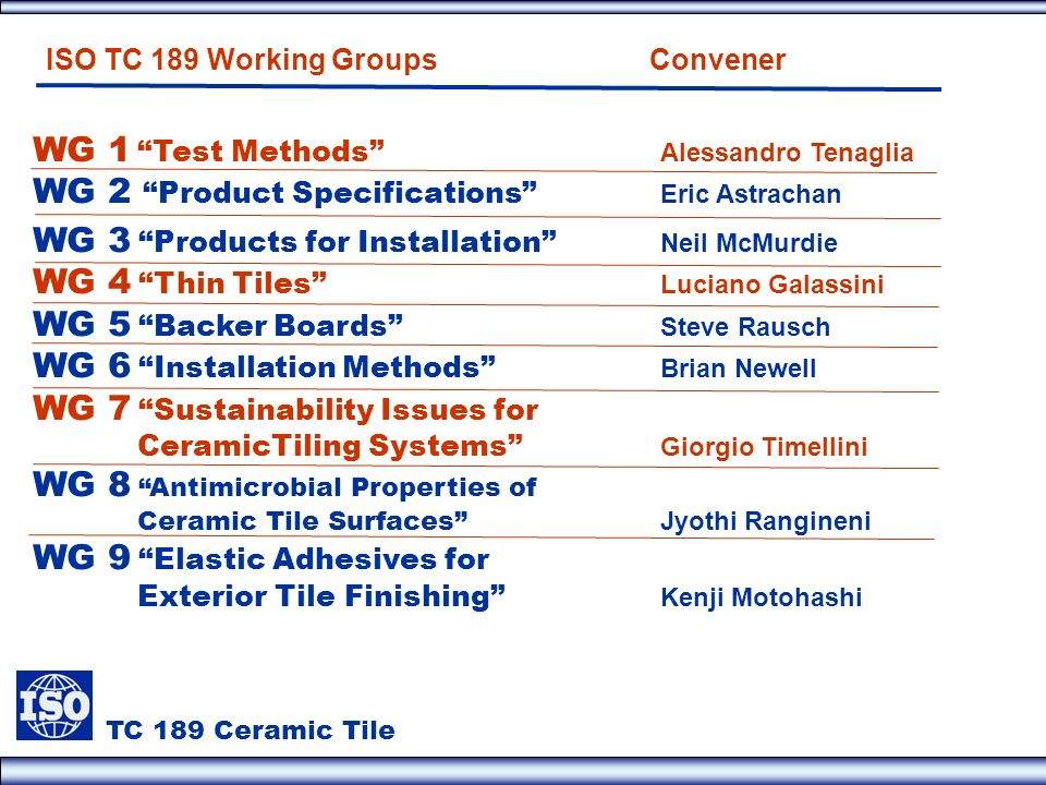 WG 1 Test Methods Alessandro Tenaglia