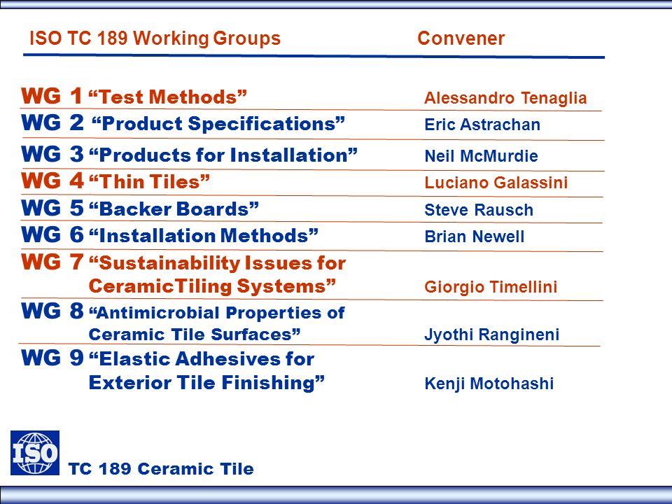 WG 1 Test Methods Alessandro Tenaglia