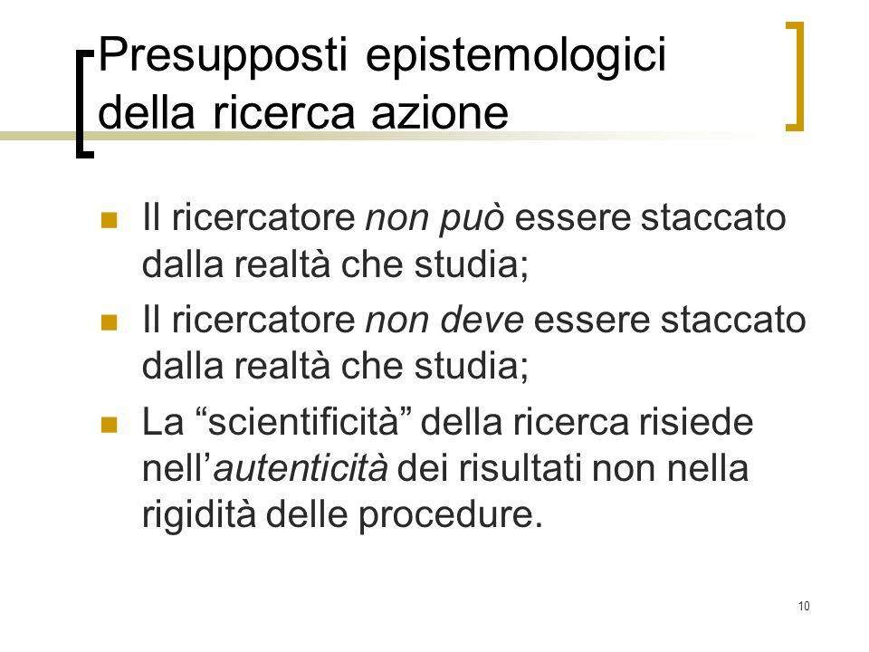 Presupposti epistemologici della ricerca azione