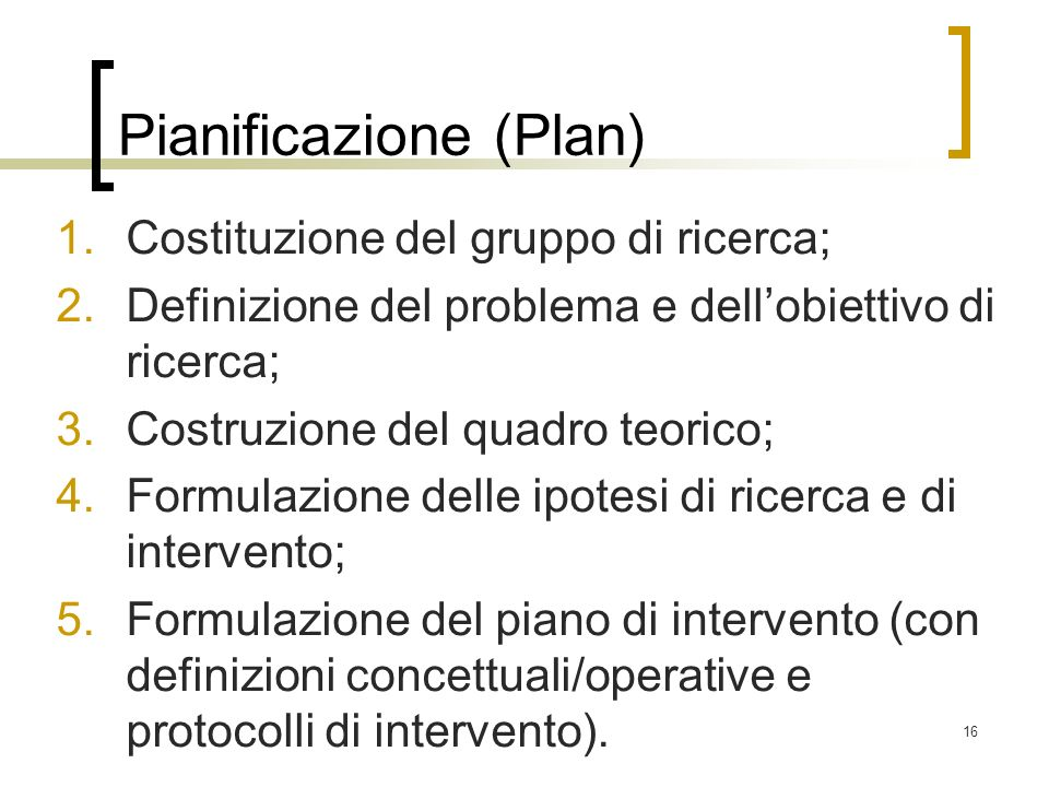 Pianificazione (Plan)