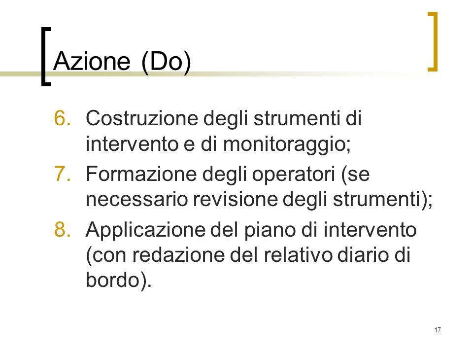 Azione (Do) Costruzione degli strumenti di intervento e di monitoraggio; Formazione degli operatori (se necessario revisione degli strumenti);