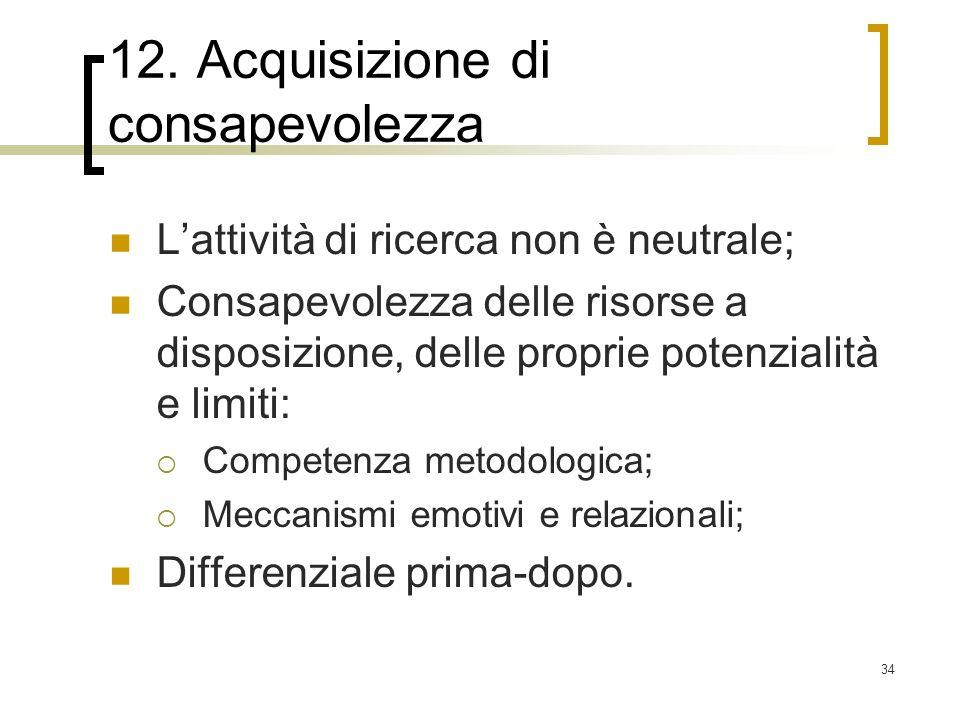 12. Acquisizione di consapevolezza