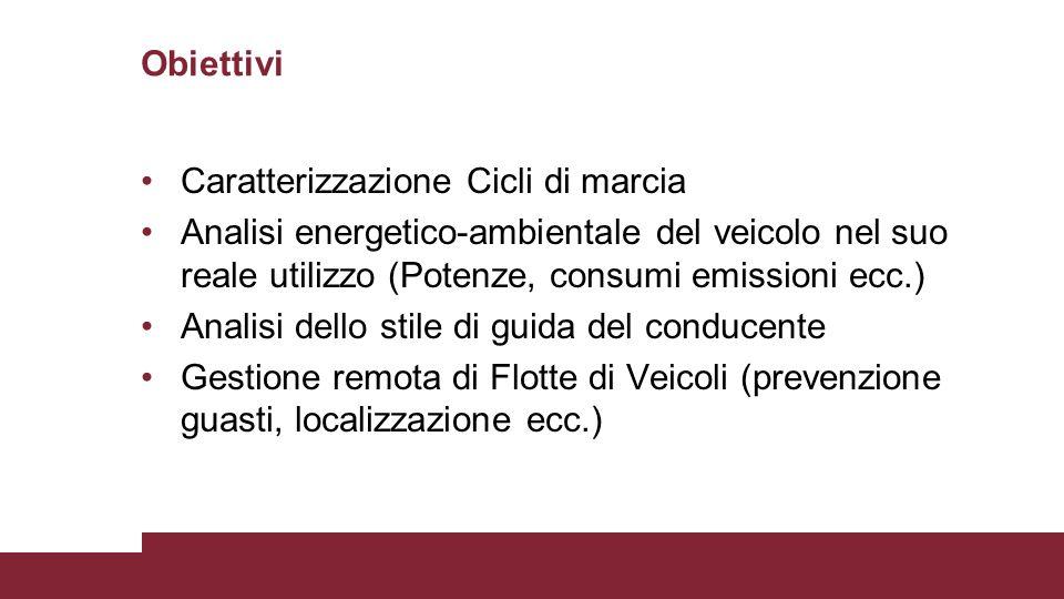 Obiettivi Caratterizzazione Cicli di marcia. Analisi energetico-ambientale del veicolo nel suo reale utilizzo (Potenze, consumi emissioni ecc.)