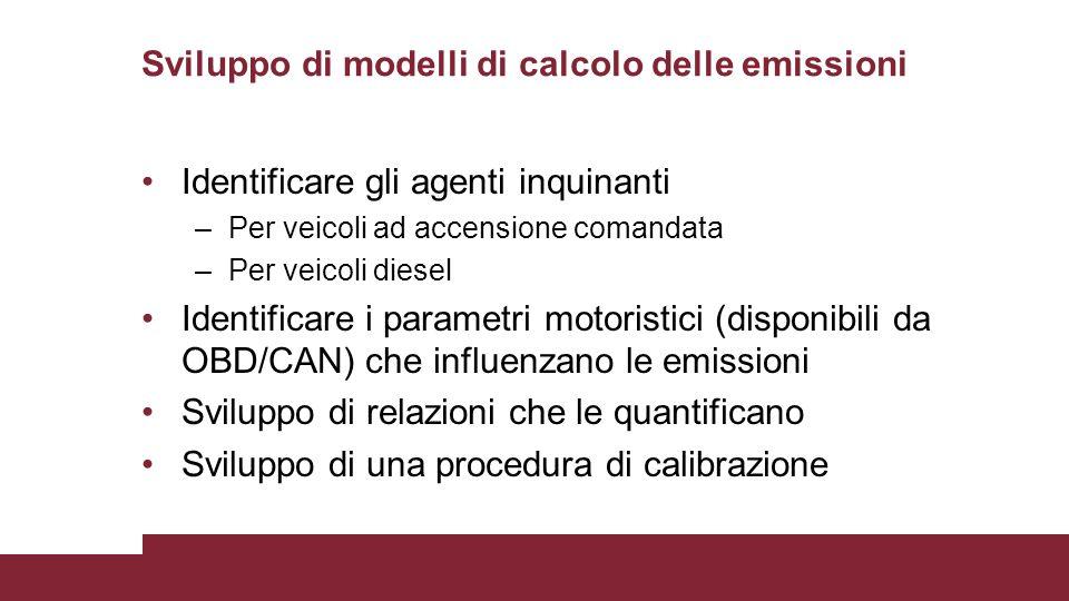 Sviluppo di modelli di calcolo delle emissioni