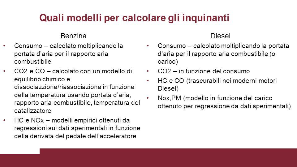 Quali modelli per calcolare gli inquinanti