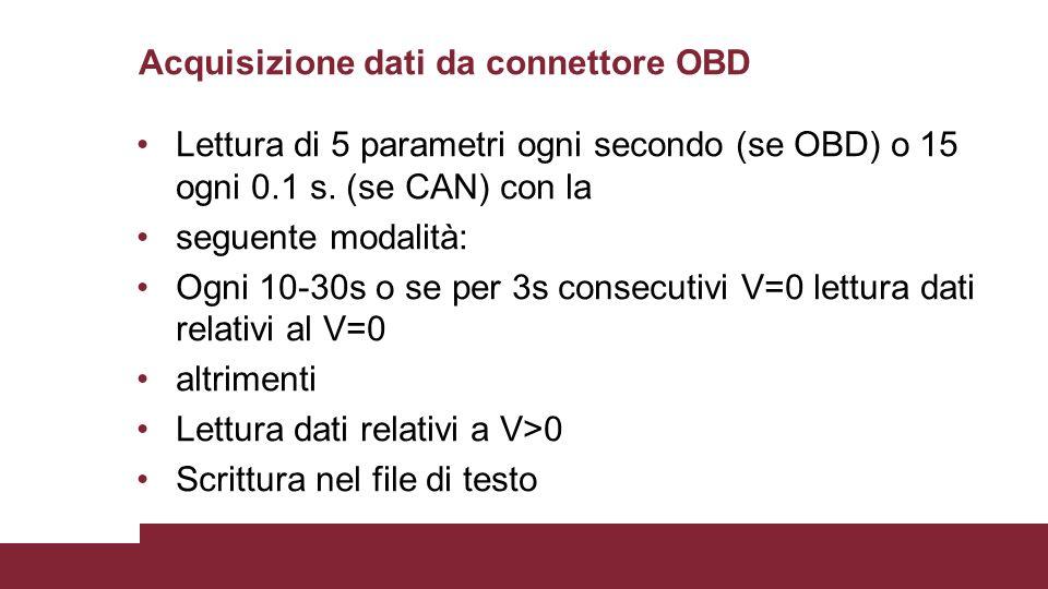 Acquisizione dati da connettore OBD