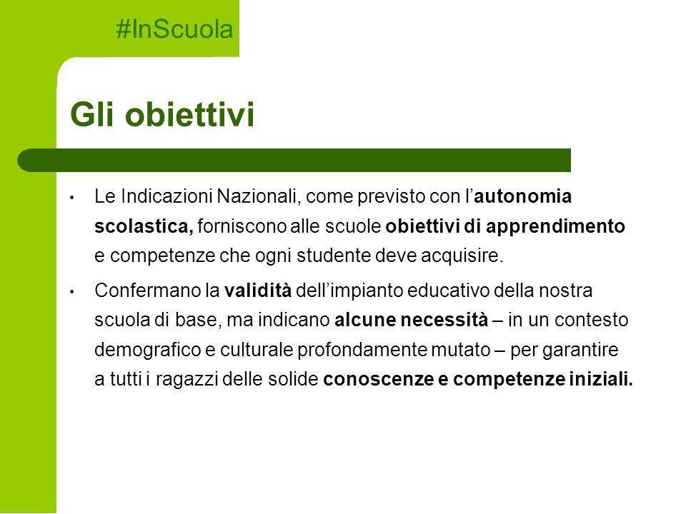Gli obiettivi #InScuola