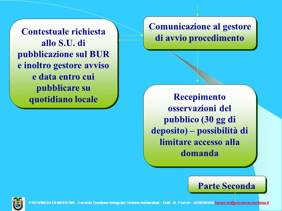 Comunicazione al gestore di avvio procedimento