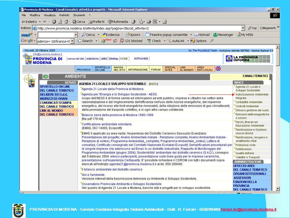 PROVINCIA DI MODENA - Servizio Gestione Integrata Sistemi Ambientali – Dott.