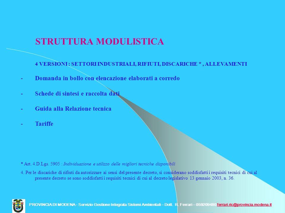 STRUTTURA MODULISTICA