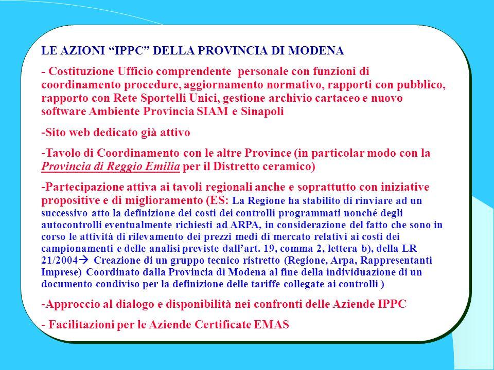 LE AZIONI IPPC DELLA PROVINCIA DI MODENA