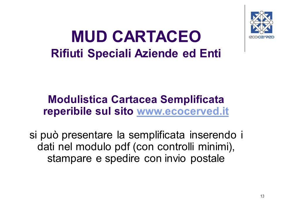 MUD CARTACEO Rifiuti Speciali Aziende ed Enti