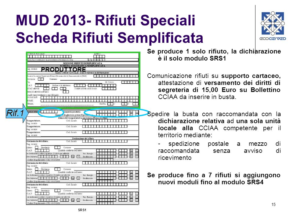 MUD 2013- Rifiuti Speciali Scheda Rifiuti Semplificata