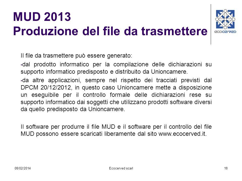 MUD 2013 Produzione del file da trasmettere