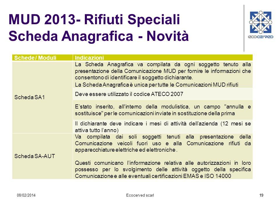 MUD 2013- Rifiuti Speciali Scheda Anagrafica - Novità