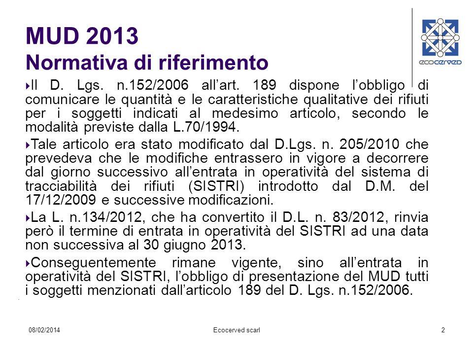 MUD 2013 Normativa di riferimento