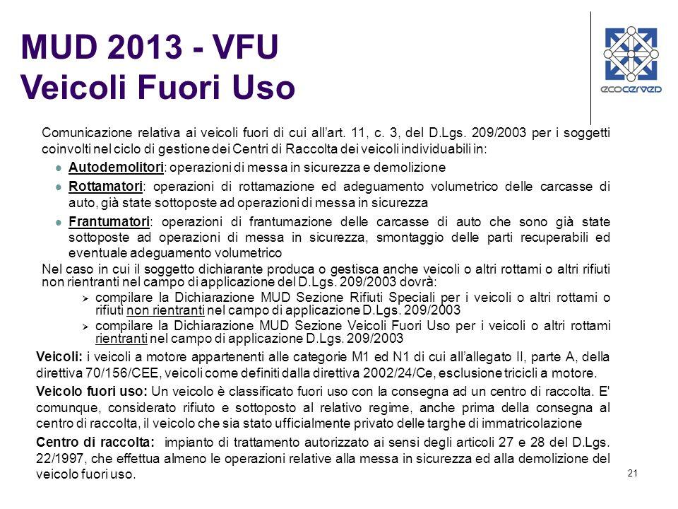 MUD 2013 - VFU Veicoli Fuori Uso