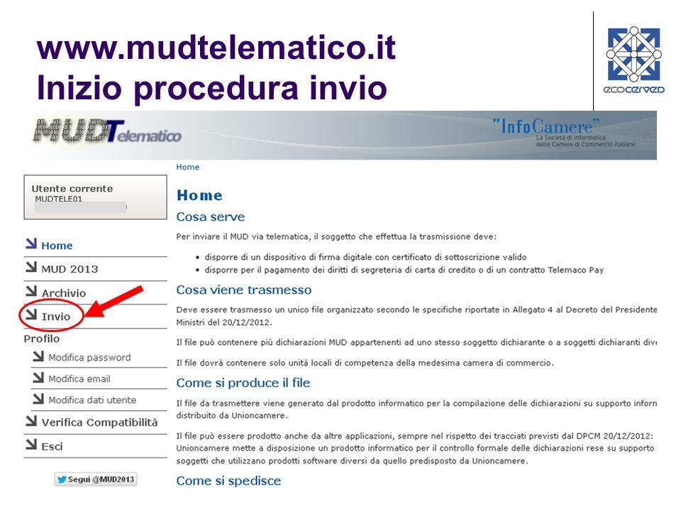 www.mudtelematico.it Inizio procedura invio
