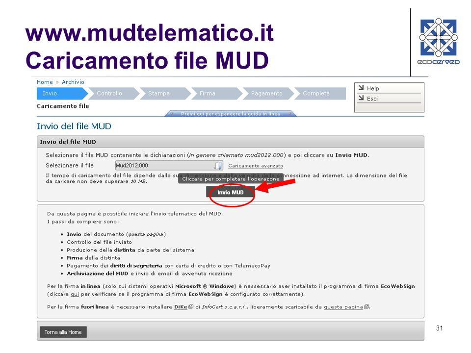 www.mudtelematico.it Caricamento file MUD