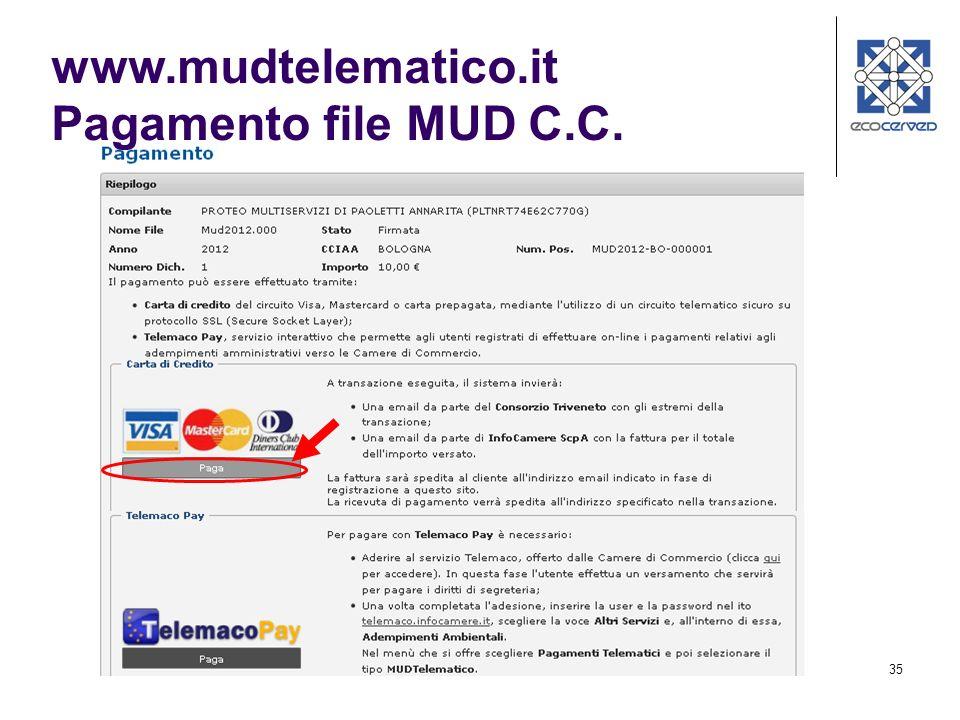 www.mudtelematico.it Pagamento file MUD C.C.
