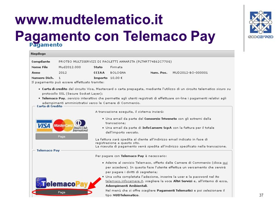www.mudtelematico.it Pagamento con Telemaco Pay