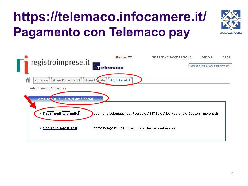 https://telemaco.infocamere.it/ Pagamento con Telemaco pay