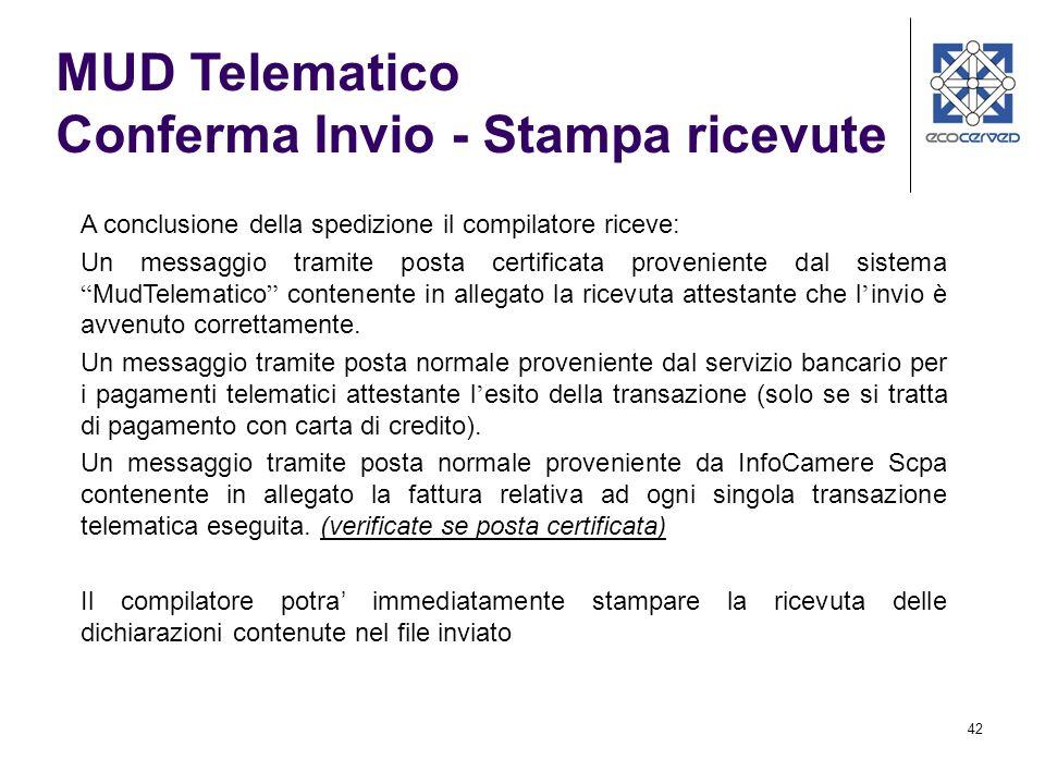 MUD Telematico Conferma Invio - Stampa ricevute