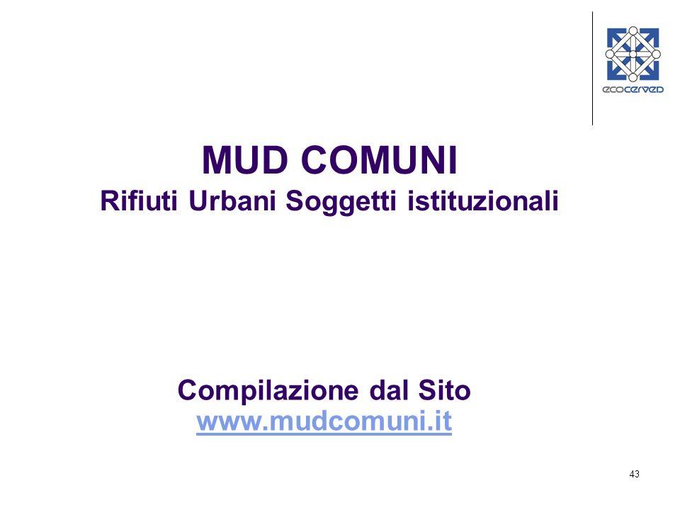 MUD COMUNI Rifiuti Urbani Soggetti istituzionali