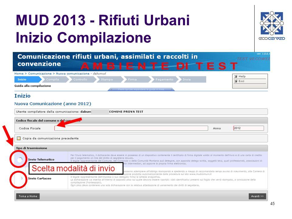 MUD 2013 - Rifiuti Urbani Inizio Compilazione
