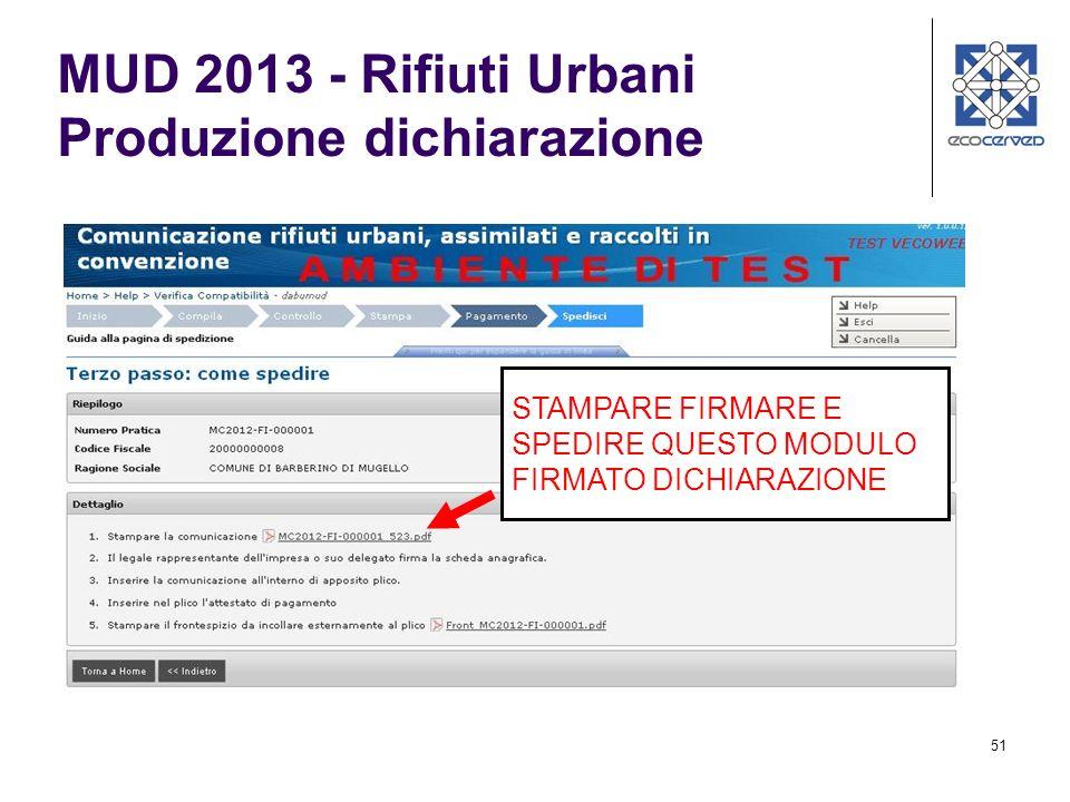 MUD 2013 - Rifiuti Urbani Produzione dichiarazione