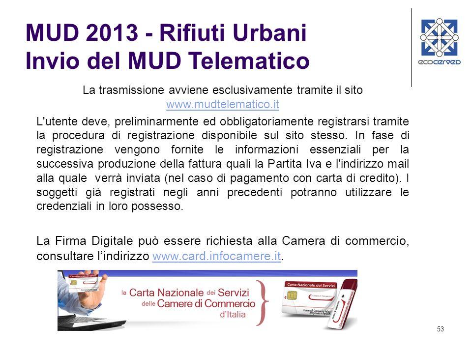 MUD 2013 - Rifiuti Urbani Invio del MUD Telematico